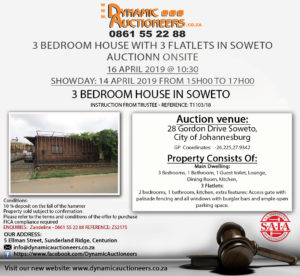 3 Bedroom House On Auction in Soweto @ House 64 Gordan Drive