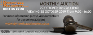 Monthly Warehouse Auction 29 October 2019 @ DYNAMIC AUCTIONEERS