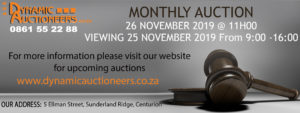 Monthly Warehouse Auction 26 November 2019 @ DYNAMIC AUCTIONEERS